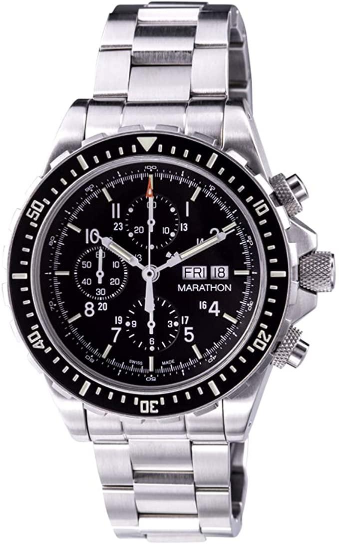 Marathon Watch WW194014 CSAR Swiss Made Military Issue Chronograph Pilot Automatic Watch with Tritium (46mm)