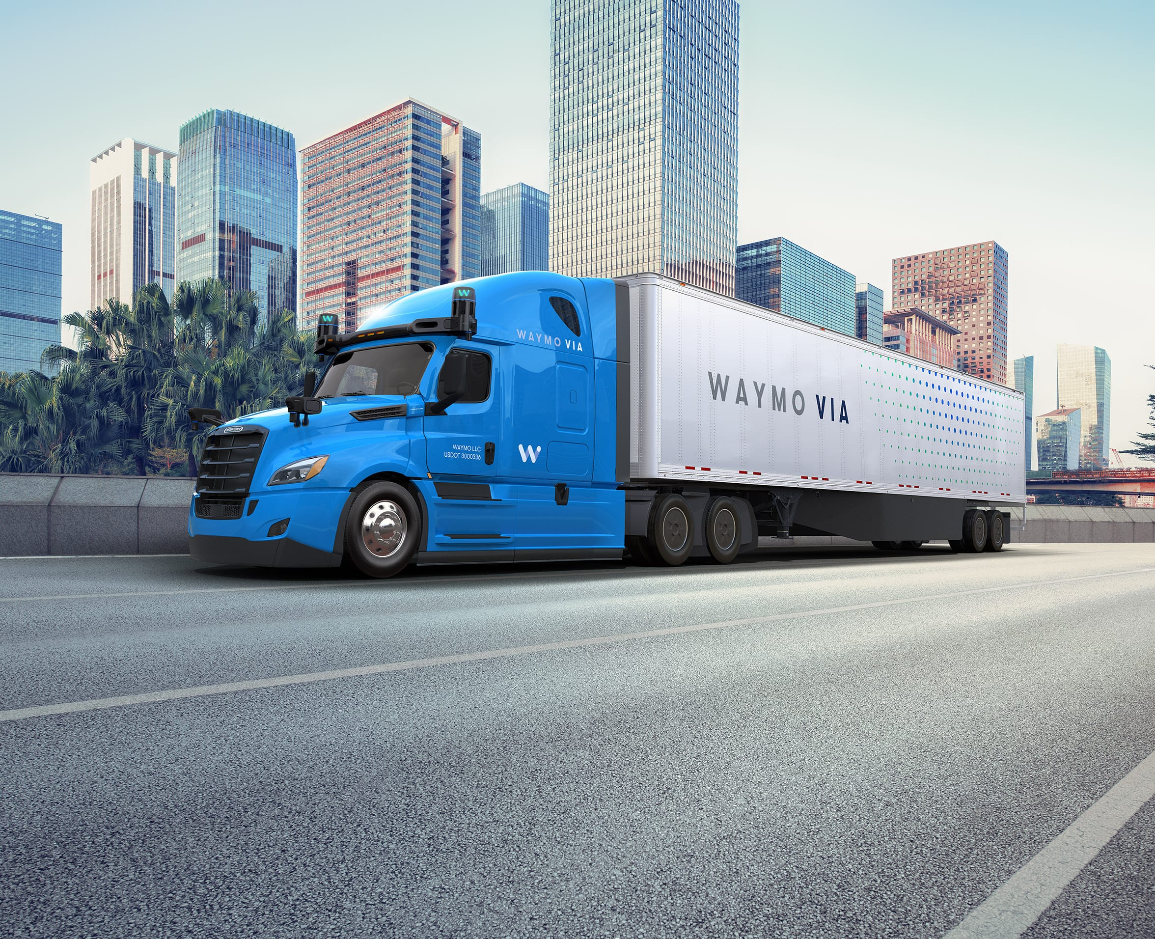 Waymo Via Freightliner Cascadia truck