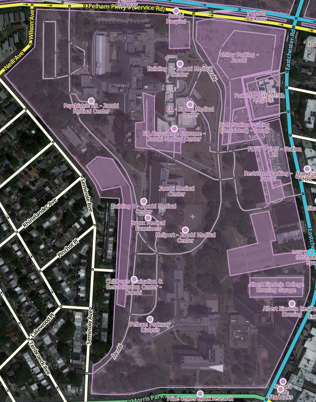 The place names have been added to this image to help visualize them. Large Medical Center with Points for buildings and ERs, and Parking Lot Areas.