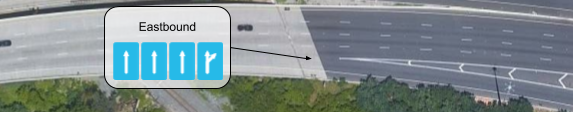 The exit lane does not reach full width until the gore point; mapped as part of the rightmost continue-straight lane.