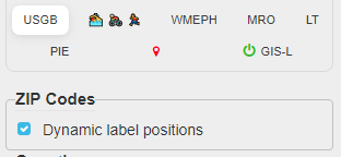 ZIP code dynamic label positions