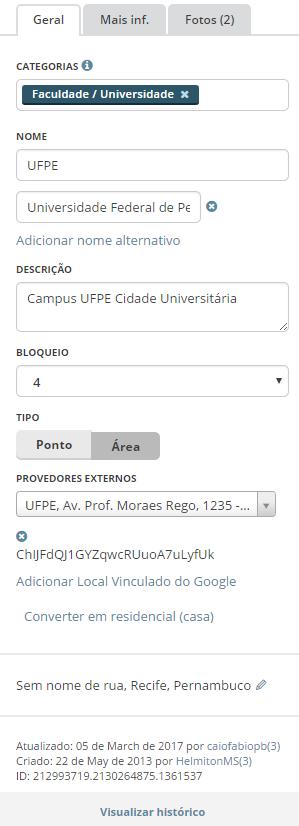 Ptbr WME - Interface - painel esquerdo - local selecionado.png