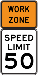 Work Zone Speed Limit sign