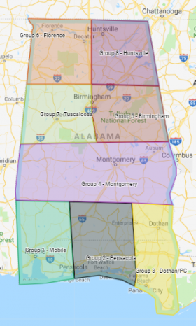 Map of Alabama and North Florida Mapraid areas