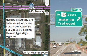 Because the freeway exit is signed to the state route at the bottom of the image, and exiting traffic must use the road on the left to reach it, this road has been given the Major Highway type.