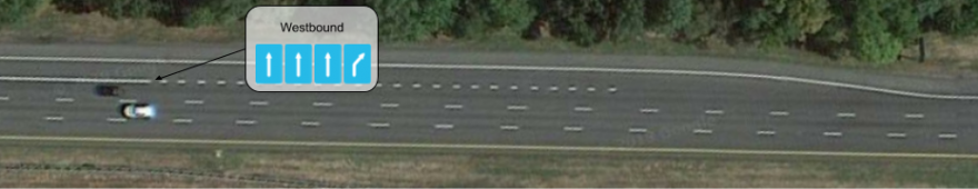 When the exit lane reaches full width before the gore point, map it as a lane separate from the rightmost continue-straight lane.