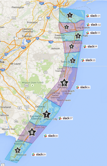 Map of New Jersey with Jersey Shore map raid groups shown