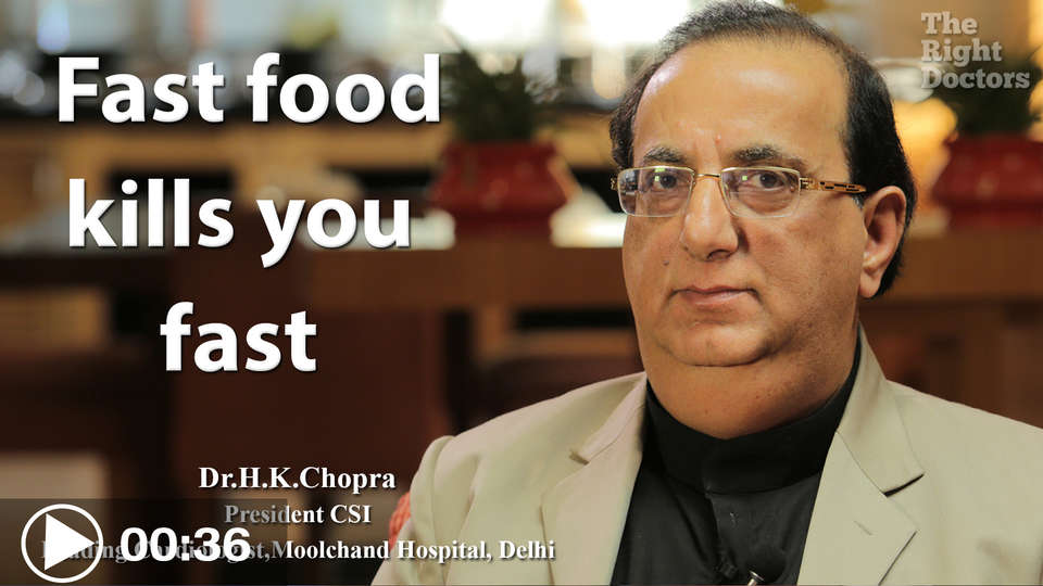 Dr.H.K.Chopra President CSI Leading Cardiologist Fast food kills you fast