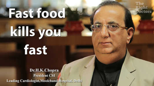 Dr. HK Chopra, President, Cardiological Society of India,Moolchand Hospital, New Delhi, Fast food kills you fast