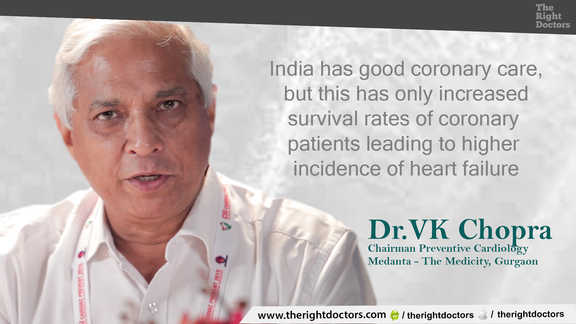Dr. VK Chopra, Chairman Preventive Cardiology, Medanta - The Medicity, Higher survival rates of coronary patients lead to increasing heart failures