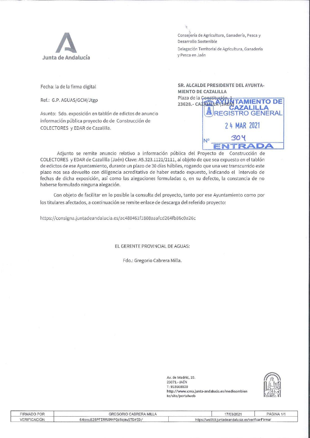 Proyecto de Construcción de COLECTORES y EDAR de Cazalilla