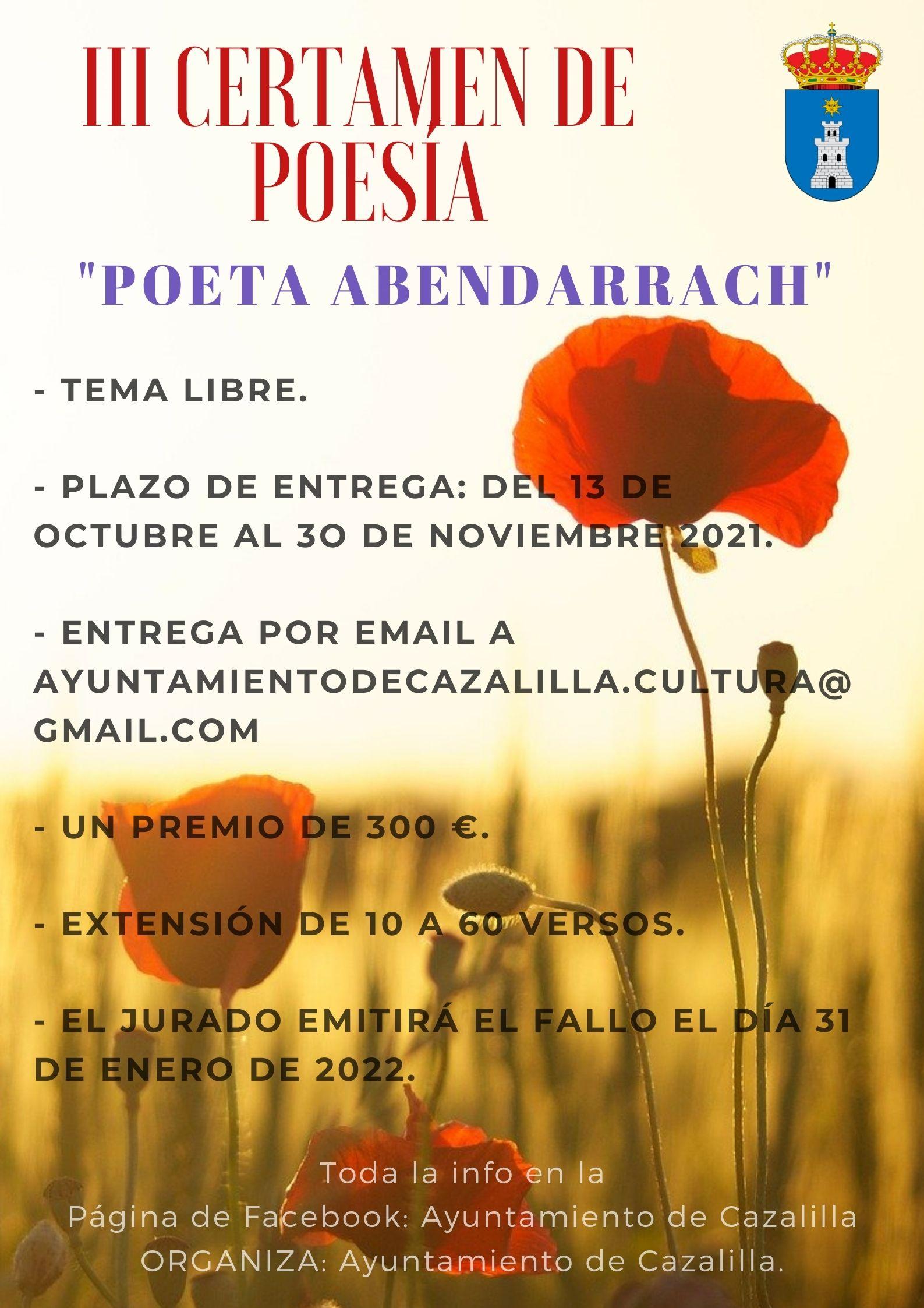 III Certamen de poesía Poeta Abendarrach 2021 Cazalilla (Jaén)