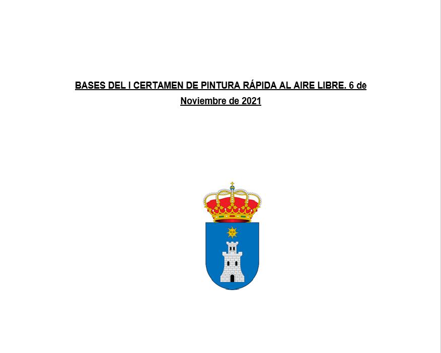 BASES DEL I CERTAMEN DE PINTURA RÁPIDA AL AIRE LIBRE. 6 de Noviembre de 2021