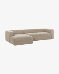 Beige Blok 3-seater sofa with left chaise longue 330 cm