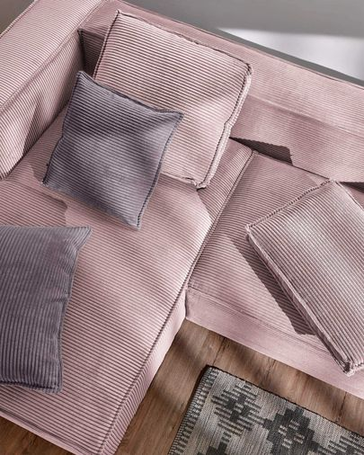 Pink velveteen 3-seater Blok sofa with left chaise longue 330 cm