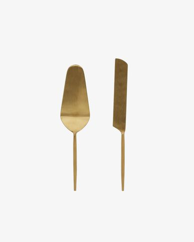 Lite 2-piece cutlery set for cake gold