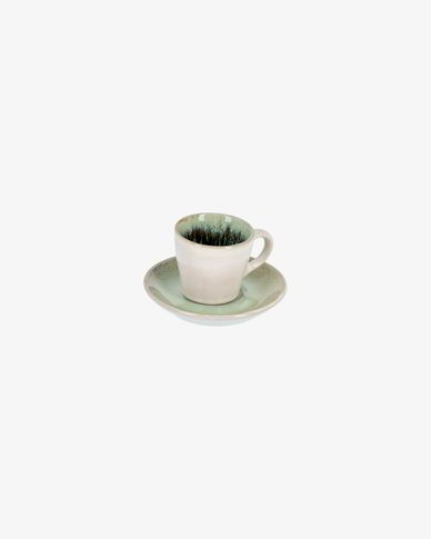 Green Zain coffee cup with plate