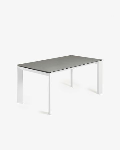Extendable table Axis 160 (220) cm porcelain Hydra Lead finish white legs