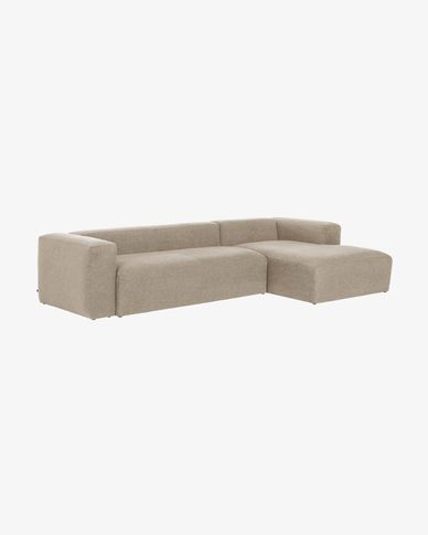 Beige Blok 3-seater sofa with right chaise longue 330 cm