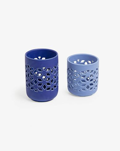 Leti set of 2 candleholders blue