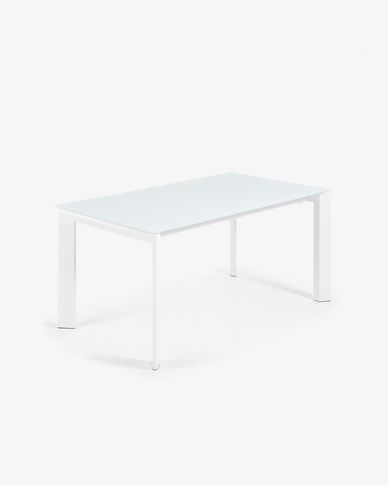 Extendable table Axis 160 (220) cm white glass white legs