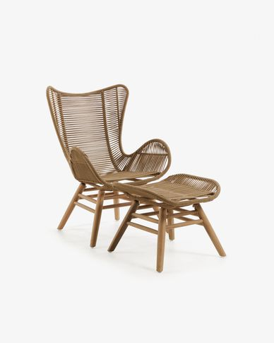 Zabel armchair with footrest beige