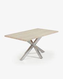 Argo table 160 cm bleached oak matt stainless steel legs