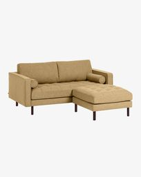 Debra mustard yellow 2-seater sofa with pouf 182 cm