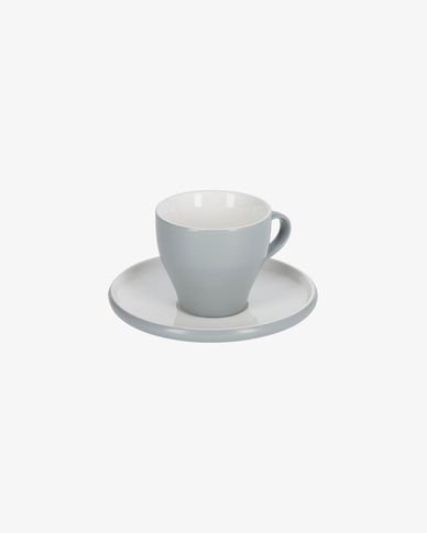 Sadashi porcelain coffee cup and saucer in white and grey