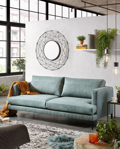 Turquoise quilted fabric 3-seater Tanya sofa 183 cm