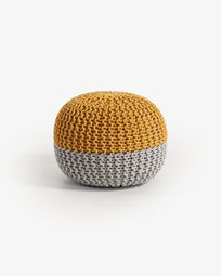 Mustard and grey Arnot pouf Ø 50 cm