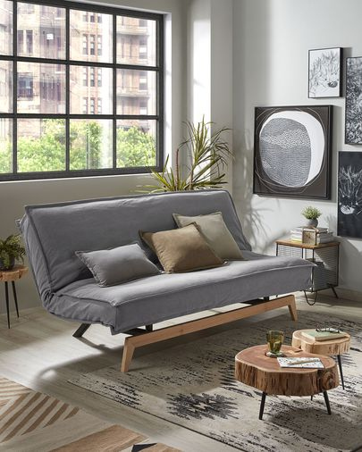Eveline sofa bed 195 cm grey wood structure