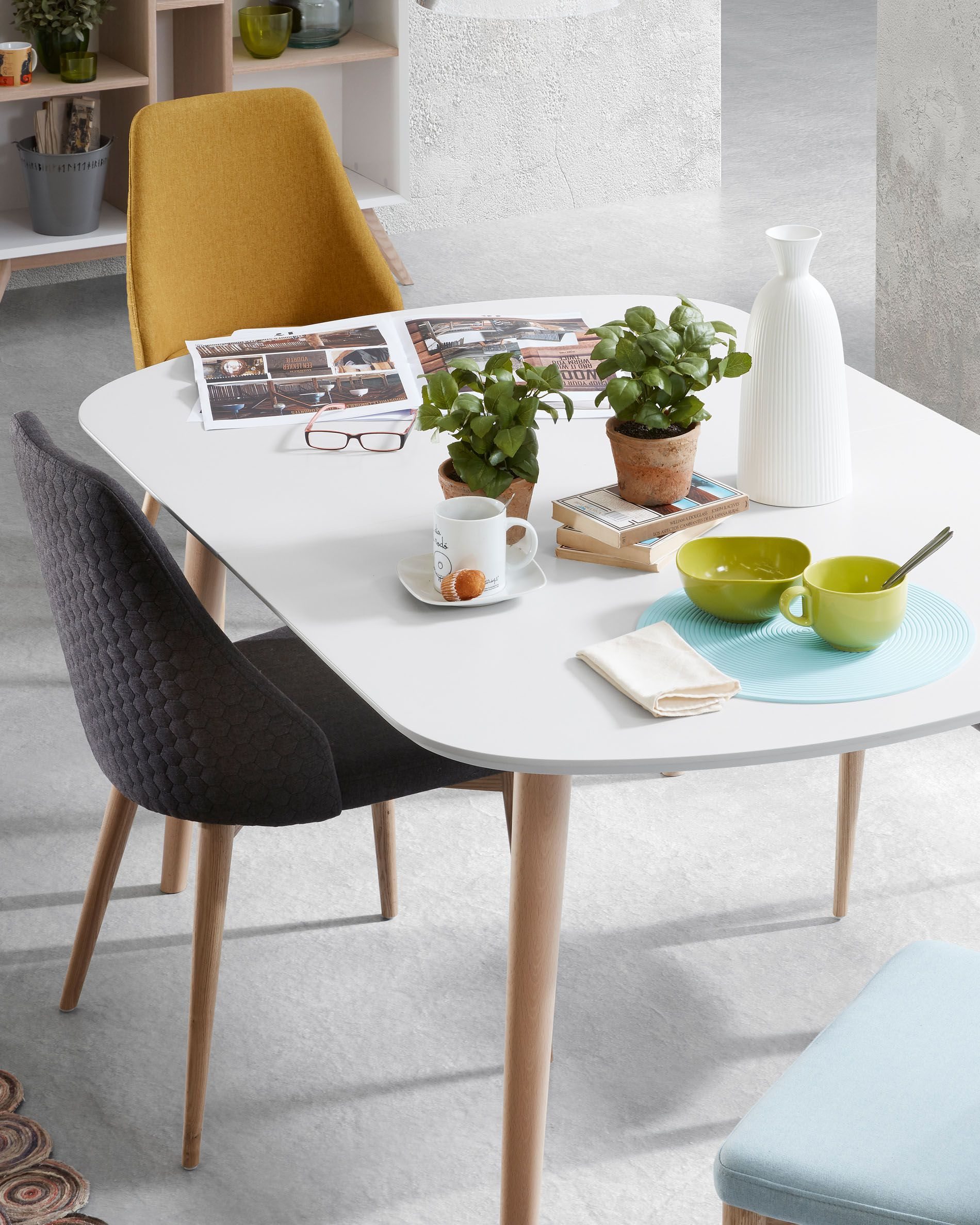 Table Oqui Extensible 160 260 X 100 Cm Blanc Kave Home