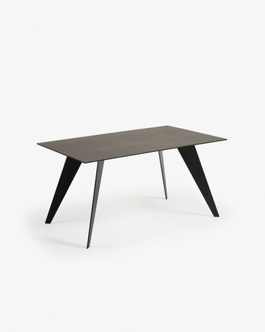 Koda table 160 cm porcelain Iron Moss finish black legs