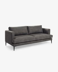Dark grey quilted fabric 3-seater Tanya sofa 183 cm