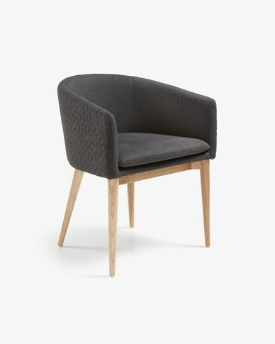 Dark grey and natural Harlan armchair