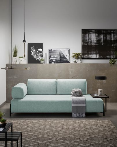 Turquoise 3 seaters Compo sofa wiht big tray 252 cm