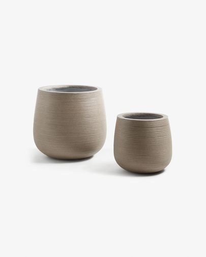 Loa set of 2 planters brown