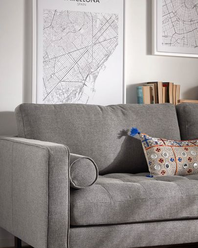Dark grey 3-seater Debra sofa 222 cm