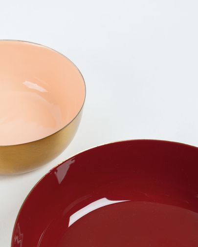 Set of 2 burgundy and pink Flurry bowls