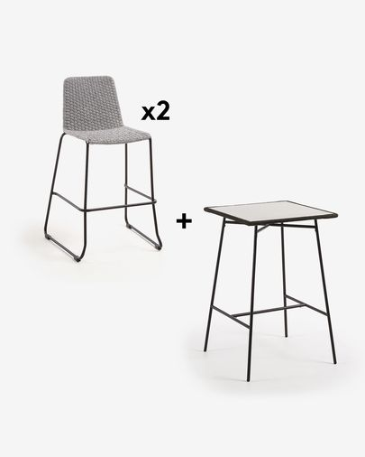 Leora Table Pack with Two Light Brown Brianne Stools