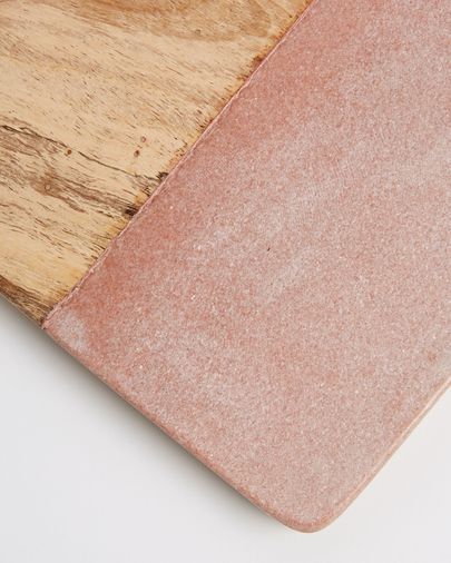 Atla cutting bord of pink marble and mango wood