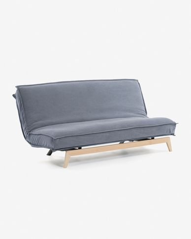 Eveline sofa bed 195 cm blue wood structure