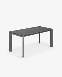 Table extensible Axis 160 (220) cm grès cérame finition Vulcano Roca pieds anthracite