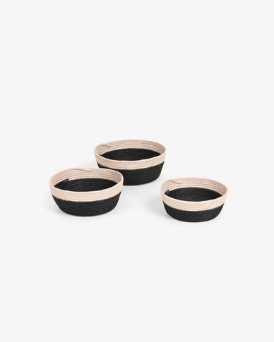 Set of 3 baskets Kysna black and beige