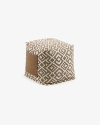 Brown and withe Malawi pouf 45 x 45 cm