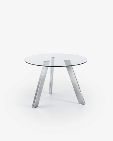 Carib table neutral and steel legs Ø 110 cm