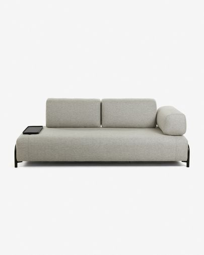 Beige 3 seats Compo sofa with small tray 232 cm