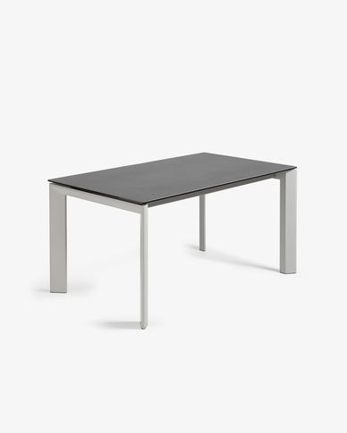 Extendable table Axis 160 (220) cm porcelain Vulcano Roca finish gray legs