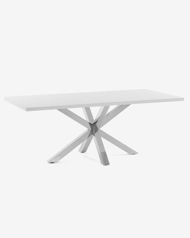 Argo table 160 cm white melamine stainless steel legs